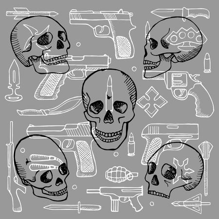 revolver: Hand drawn doodle set with skulls and guns Illustration