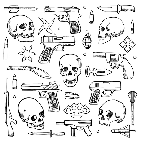 Hand drawn doodle set with skulls and guns Illustration