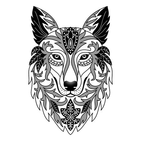 rosa negra: Lobo ornamental. Ilustración del vector para impresiones textiles, tatuaje, web y diseño gráfico