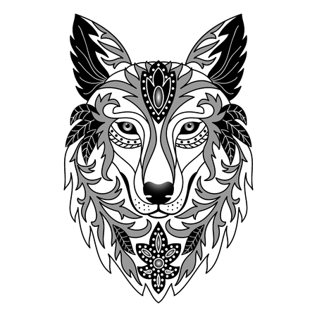black and white image drawing: Ornamental Wolf. Vector illustration for textile prints, tattoo, web and graphic design Illustration