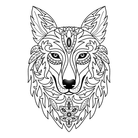 black and white image drawing: Wolf. Vector illustration for textile prints, tattoo, web and graphic design Illustration