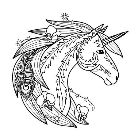 fib: Ornamentales Unicornio Vectores