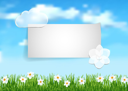 grass flowers: Background with grass, white flowers and leaf of paper
