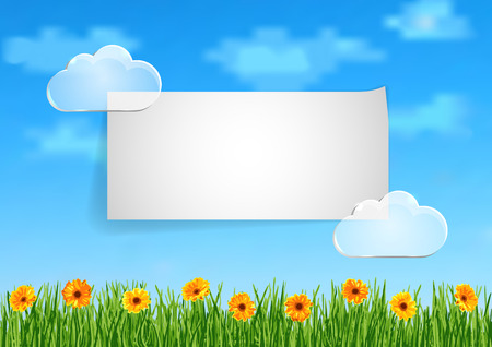 grass flowers: Background with grass, orange gerbera flowers and leaf of paper