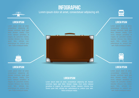 freight transportation: Info graphic Suitcase with freight transportation