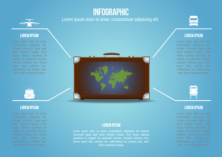 freight transportation: Suitcase with freight transportation and world map