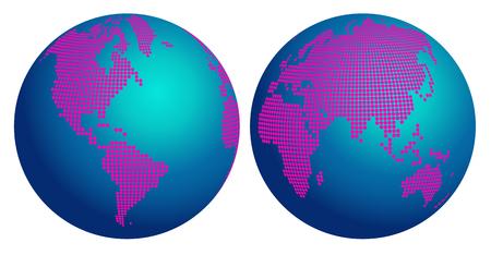 hemisphere: World map hemisphere of pink flower dots Illustration