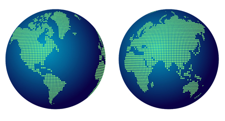 Abstract World Map Globe Of Green Round Dots Royalty Free Cliparts ...