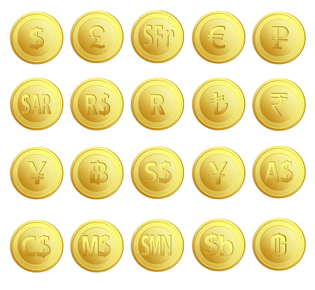 rupee: Set of 20 gold money currency