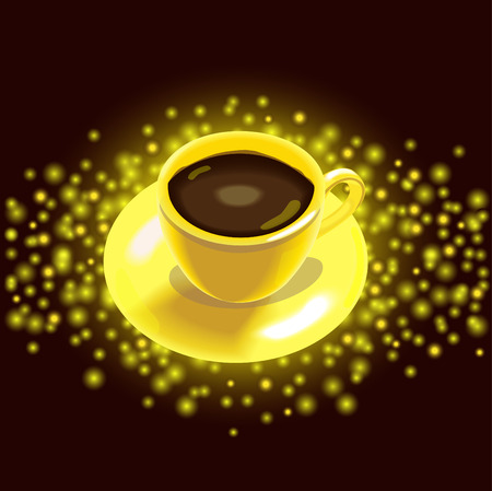 gold cup: Gold cup of coffee