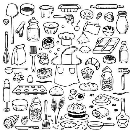 pastel: Conjunto drenado mano del doodle con elementos de panader�a Vectores