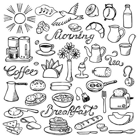 comiendo cereal: Mano doodle conjunto de desayuno