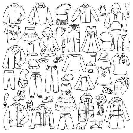 Hand drawn doodle set with childish clothes Vectores