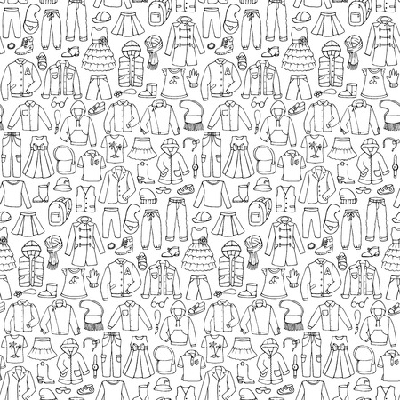 Seamless hand drawn doodle pattern with childish clothes