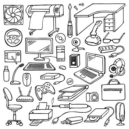 trabajando en computadora: Mano doodle conjunto de equipos
