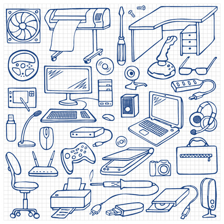remount: Hand drawn doodle computer set Illustration