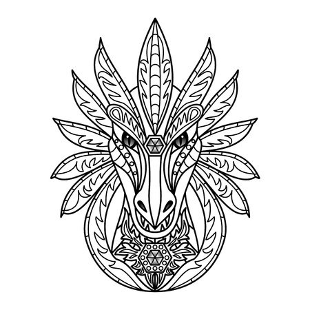 black and white image drawing: ornamental dragon Illustration