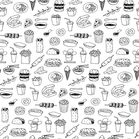 Fast Food seamless hand drawn doodle pattern Illustration