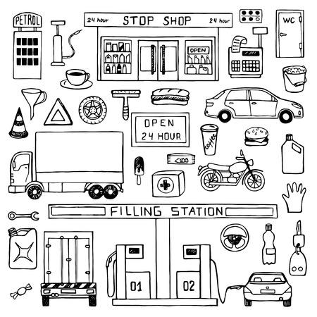 Hand getrokken doodle set met tankstation Stock Illustratie