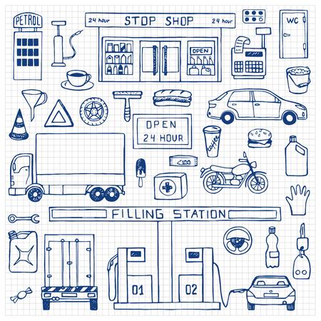 filling station: Hand drawn doodle set with filling station