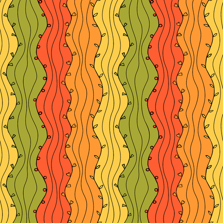 vintage wallpaper: Seamless Abstract Hand Drawn Wave Pattern. Autumn Illustration
