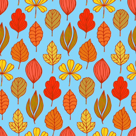autumn leafs: Seamless pattern with hand drawn autumn leafs Illustration