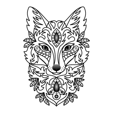 drawing on the fabric: Ornamental Fox