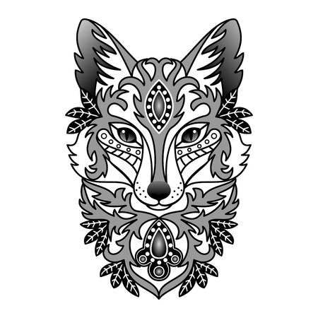 black and white image drawing: Ornamental Fox