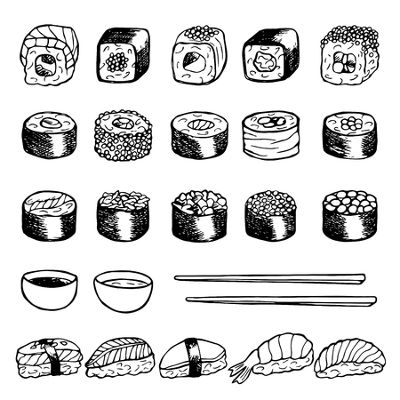 sushi restaurant: Hand drawn doodle set with sushi