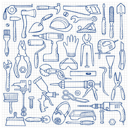 rasp: Hand drawn doodle set with repair tools Illustration