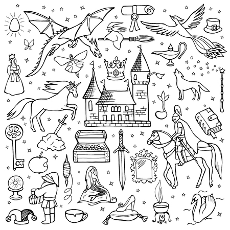 fairy tale princess: Hand drawn doodle fairy tale set