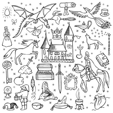 Hand drawn doodle fairy tale set