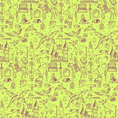 Naadloze hand getrokken doodle patroon met sprookje elementen