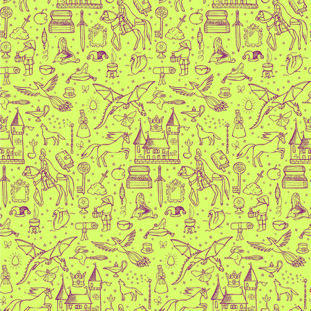 doodle: Seamless hand drawn doodle pattern with fairy tale elements