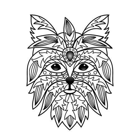 yorkshire: Ornamental Yorkshire terrier Illustration
