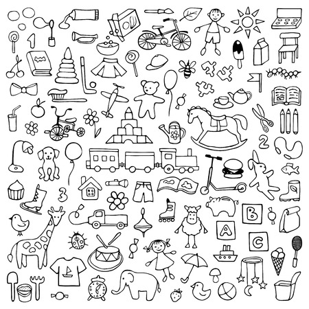 Toys hand drawn doodle set Stock Illustratie