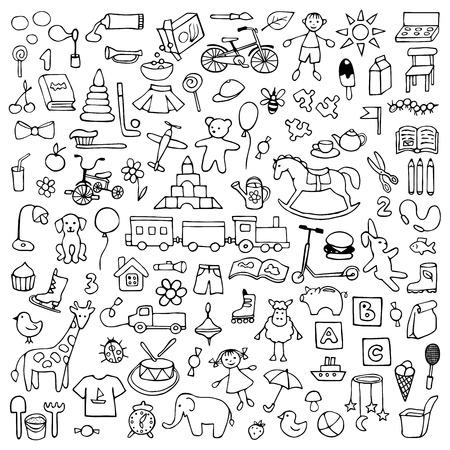 Kinderspielzeug Satz Von Hand Gezeichnet Doodle Spielzeug