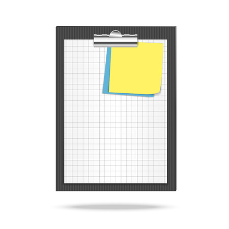 squared: Clipboard, leaf of squared paper and note papers Illustration
