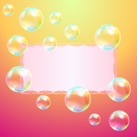 place to shine: Greeting card and soap bubbles Illustration