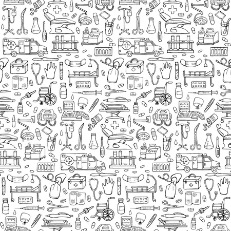 Seamless medical hand drawn doodle pattern