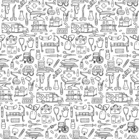 원활한 의료 손으로 그린 낙서 패턴