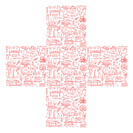 reanimation: Cross with medical hand drawn doodle pattern