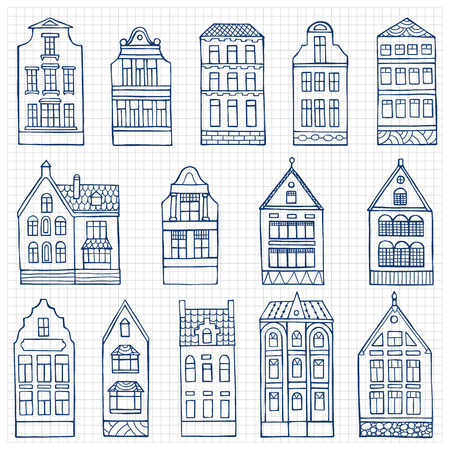 squared paper: Set of hand drawn doodle houses on squared paper