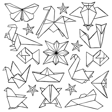 origami paper: Origami hand drawn doodle set