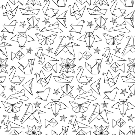 origami pattern: Seamless hand drawn doodle origami pattern