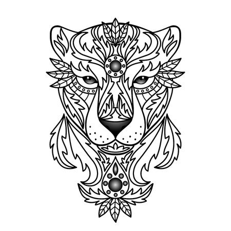 panther: Ornamental White Panther Illustration
