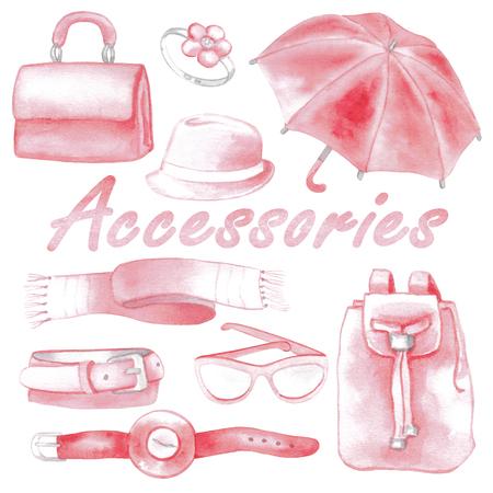 wellingtons: Pink woman accessories set