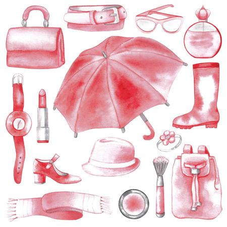 wellingtons: Pink woman accessories set