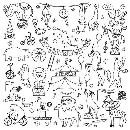 leon bebe: Hand drawn circus set Vectores