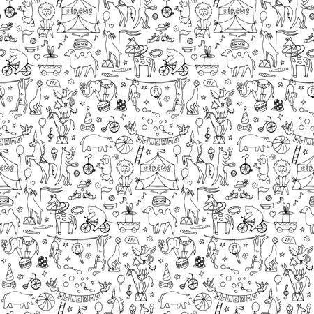 bruin: Seamless hand drawn circus animals pattern Illustration